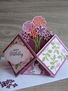This Double Diamond fold is a beauty. Make it as fancy or simple as you like. Here I've used the Beautiful Bouquet stamp set and coordinating Bouquet Bunch framelits. Pop Out Cards, Fun Fold Cards, Folded Cards, Beautiful Handmade Cards, Unique Cards, Creative Cards, Tarjetas Pop Up, Shaped Cards, Marianne Design