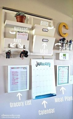 17 organizational hacks for every room in your home - command center at . - 17 organizational hacks for every room in your home – command center on the wall – - Organisation Hacks, Organizing Hacks, Office Organization, Office Storage, Apartment Kitchen Organization, Organization Station, Apartment Entryway, Calendar Organization, Apartment Hacks