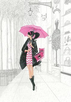SANDY M illustration for Posh Frosting Rain Boots {via Ooh La Frou Frou} pinned with Bazaart Art And Illustration, Arte Fashion, Umbrella Art, Pink Umbrella, Frou Frou, Fashion Sketches, Fashion Illustrations, Native American Indians, Urban Art