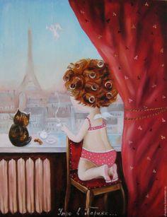 Купить Картина маслом  Нежное утро  в Париже с котом - картина, картина маслом, Живопись