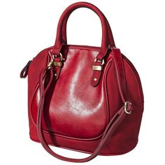 Solid Satchel Handbag - Red ($35) ❤ liked on Polyvore featuring bags, handbags, purses, satchel hand bags, satchel purses, zip zip satchel, red purse and handbags purses