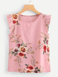 Women Casual Floral Top Regular Fit Scoop Neck Cap Sleeve Pink Regular Length Frill Trim Polka Dot Top Blouse Styles, Blouse Designs, Floral Top Outfit, Modest Fashion, Fashion Outfits, Sewing Blouses, Professional Wear, Fashion Painting, Fashion Sewing