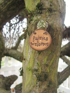 Fairy faerie garden sign, Fairies welcome hand-burned into a slice of found cherry wood with a rustic wire