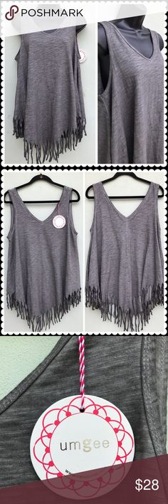 """NEW Gray UMGEE Fringe Uneven Hem Top Sz Large GREAT Top by UMGEE!  *Solid Gray  *Sleeveless  *Fringe Hem  *Uneven Hem  SIZE: Large  FABRIC CONTENT: Cotton/Polyester  CONDITION: Excellent, Very Gently Used!  Measurements (lying flat in inches):  Chest: 19.5""""  Top to bottom(shoulder to hem): 26-30"""" Umgee Tops Tank Tops"""