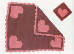 """""""I Love Baby"""" Reversible Intarsia Blanket (US) by Laurinda Reddig  reversible intarsia used to create a blanket with no """"wrong side"""".   available for purchase on Ravelry.com"""
