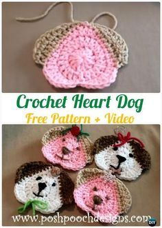 Crochet Heart Dog Free Pattern - Heart Applique Free Patterns Knitting ProjectsKnitting For KidsCrochet PatternsCrochet Stitches Marque-pages Au Crochet, Chat Crochet, Crochet Mignon, Crochet Motifs, Crochet Gifts, Crochet Baby, Crochet Applique Patterns Free, Crochet Flower Patterns, Crochet Flowers