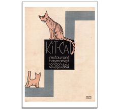 Kit KatClub Poster This  piece of vintage graphic design is from a program cover at the Kit Cat Club Restaurant in London. Opened in 1925, the Kit Cat Club was the original luxury night club