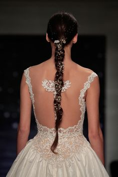 Long braids with pearls and stars at the Reem Acra Bridal Spring 2016 show // Wedding Hair and Makeup Ideas From Bridal Fashion Week