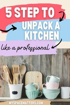 Moving is stressful, unpacking is tough....especially unpacking the kitchen. If you follow these 5 steps from a professional organizer, your new house will feel like a home in no time. #kitchen #organizing #unpacking #professionalorganizer kitchen organization Kitchen Organization, Organizing, New Kitchen, New Homes, House, Home, Kitchen Organisation, Homes, Kitchen Staging