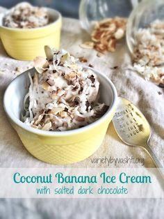 Coconut Banana Ice Cream {With Salted Dark Chocolate}