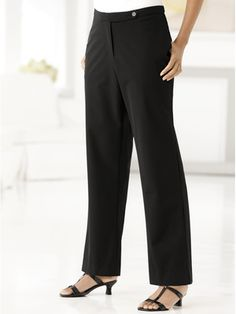 Stretch Button-and-Zip Regular-length Tab Pants