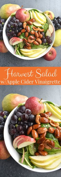 Harvest Salad with Apple Cider Vinaigrette is loaded with the season's best grapes, pears and apples along with honey candied almonds and cashews! #salad #healthy #cleaneating #fall #fallfood #harvest #apples #grapes #pears #nuts #vegan #sidedish #thanksgiving Clean Eating Dinner, Clean Eating Recipes, Asian Chopped Salad, Corn Tomato Salad, Candied Almonds, Harvest Salad, Healthy Baked Chicken, Grilled Pork, Vegetable Salad