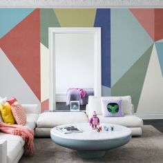 This collage of geometric shapes is a great example of how these precise and regular shapes combine to make patterns. Everything has a shape; geometrics are mathematically correct shapes like diamonds, triangles and squares. Our diamond wallpaper from the Spectrum collection is clean, sharp and interesting. It draws the eye with the symmetry of the shape, emphasized with the colours; the colour palette on this design can be adjusted to suit your requirements. Place in a reception area of…