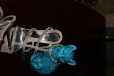 Silver leather and Swarovski Crystals extremely hight heels. Ankle lace Loriblu