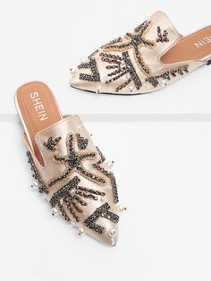 Shop Rhinestone & Faux Pearl Detail Satin Flats online. SheIn offers Rhinestone & Faux Pearl Detail Satin Flats & more to fit your fashionable needs. Romwe, Crazy Shoes, Me Too Shoes, Mules Shoes, Flats, Cozy Winter Outfits, Summer Shoes, Designer Shoes, Casual Shoes