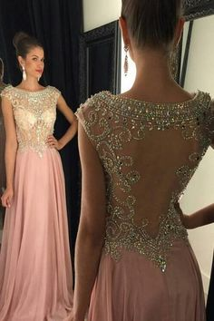 Chiffon Sexy Sparkly Long Prom Dresses Scoop Galajurken Sheer Back Crystal  Beaded Sweep Train Formal Evening Party Gowns sold by bettybridal. 134d821f6bfe