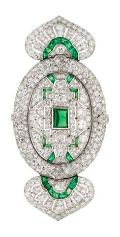 Art Deco Diamond, Emerald, Platinum Brooch, Lacloche Frères The brooch marked Lacloche, Paris.