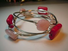 wire wrapped pink bangle bracelets, handmade jewelry