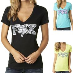 2015 Fox Racing Womens Summer Image V-Neck Short Sleeve Tee Top Shirt