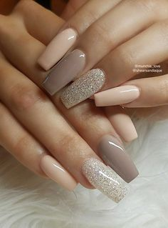 What manicure for what kind of nails? - My Nails Neutral Nail Designs, Neutral Nails, Acrylic Nail Designs, Nail Art Designs, Nails Design, Neutral Tones, Fancy Nails, Cute Nails, Pretty Nails