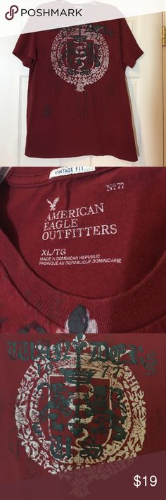 "⬇️🐾❄️ AEO SHORT SLEEVED T-SHIRT - VINTAGE FIT XL This dark red American Eagle Outfitters short sleeved t-shirt has a large design on the front that says ""War Dog US"" in black puffy print along with other designs in black & white. The back is plain dark red. It measures about 44"" around the chest area & is approximately 30"" from shoulder seam to hem. This awesome t-shirt is in ""like new"" with no rips, tears, or flaws that I've seen! American Eagle Outfitters Shirts Tees - Short Sleeve"