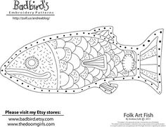 Folk Embroidery Patterns Free Folk Art Fish Embroidery Pattern From Andrea Zuill - I always look forward to Andrea Zuill's monthly free embroidery patterns, and this fun folk art fish for March has me really itching to stitch. Folk Embroidery, Embroidery Patterns Free, Cross Stitch Embroidery, Machine Embroidery, Embroidery Designs, Floral Embroidery, Hungarian Embroidery, Embroidery Software, Learn Embroidery
