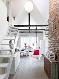 white room and brick wall