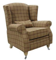 Arnold Wool Tweed Wing Chair Fireside High Back Armchair Althrop Mandarin Check Fabric