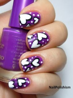 cute hearts great idea for a nail design.