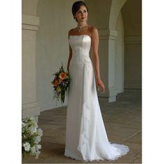 Simple Elegant Column strapless chiffon Wedding Dress with Applique