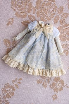 French Lace ≈ Blue miniature dollhouse child's dress.  I love every exquisite detail from lightly gathered sleeves, delicate ruffle to simple but well executed ribbon and collar.