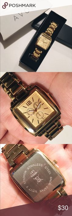 Gold Tone Watch Plastic cover still on glass and the pin to change the time has not been removed. Never worn! The box is a bit beat up but the watch is in perfect condition. I am a registered retailer of Avon. Avon Accessories Watches