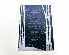 The sparkle from the silver metallic card stock used for this invite make it truly, one-of-a-kind. I can also print this invite on other metallic colors or if you prefer standard smooth white or cream card stock - that is available as well. The Aspen trees, snow, and special attention to the details - like the couple's initials in the tree work to give this invitation a lovely wintery and romantic feel. #aspentrees #winterwedding #snowytreesinvite
