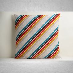 Multicolor Stripe Pillow Cover Stripe Pillow Cover by SamanthaEmma Linen, Stripe, Stripe Pillow, Linen Pillows, Multicolor, Pillows, Decorative Pillow Covers, Cushion Covers, Pillow Cases