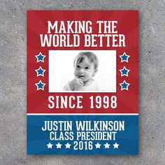 Election Campaign Poster 3 – Printable Photo Poster personalized with your baby photo, name and running title – Funny – Vote For Me Campaign School Campaign Ideas, School Campaign Posters, Student Council Campaign, Student Council Posters, School Posters, Student Gov, Student Body President, Vice President, Student Office