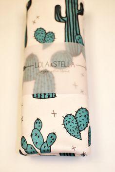 Organic baby blanket in cactus print organic crib by LolaandStella
