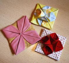 These are some of the samples for a new class we are going to be doing at the shop. They are origami with fabric. There are so many uses for them that my head is spinning. We are working on an appl...