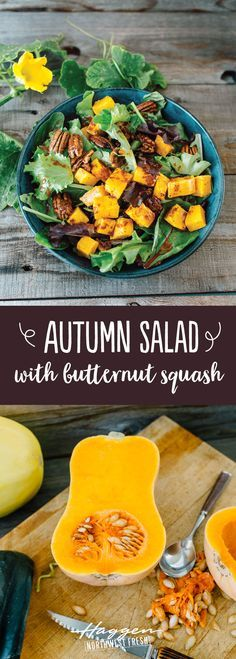 The perfect fall harvest salad with roasted butternut squash, pecans and cranberries.