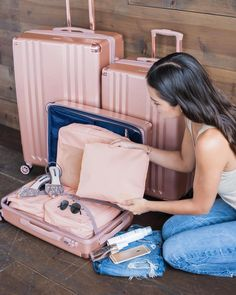 Our favorite combo: Rose Gold Ambeur and Blush Pink Packing Cubes ✨! #prettierinpink #calpak #calpaktravel