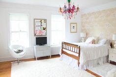 gold, white, and blush teen bedroom makeover on domino.com
