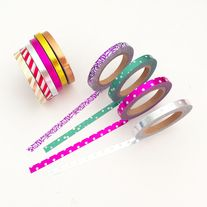 Foil+washi+tapes+in+10+styles    Quantity:+10+pcs  Size:+5+mm(W)+x+10+m(L)