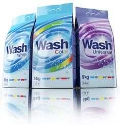 Line of washing powders including three products: for colored clothing, white and universal. The project covered design of brand logotype, and graphic design of individual units.