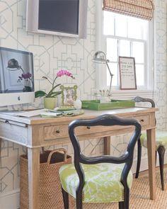 desk + chairs + wallpaper + bamboo + green tray | the zhush blog