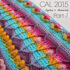 Part 7 of Sophie's Universe CAL This crochet-along is a project with step-by-step photos, video tutorials, and translations. Motif Mandala Crochet, Crochet Motifs, Crochet Borders, Tunisian Crochet, Crochet Squares, Crochet Stitches, Crochet Patterns, Crochet Afghans, Crochet Blankets
