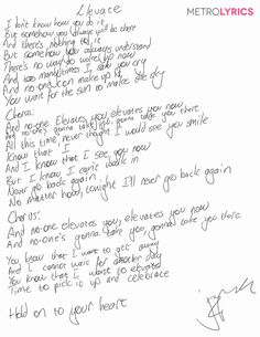 St. Lucia's handwritten lyrics to #Elevate #Metrolyrics #Exclusive