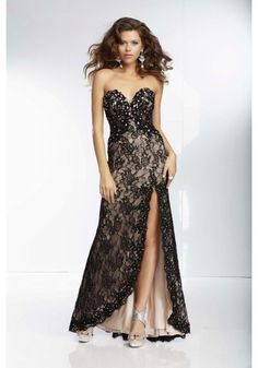 Sweetheart High Low Black Lace A Line Evening Dress
