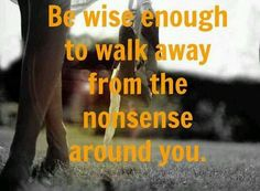 Be wise enough to walk away from the nonsense around you.