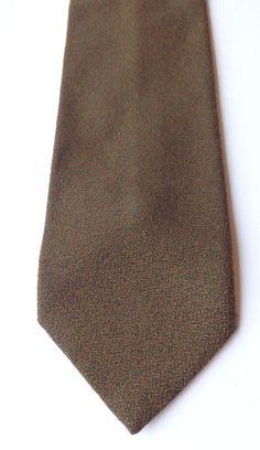 Vintage Pure Wool Neck Tie Green Bronze Mid Weight Weave FOLKESPEARE FREE P&P #Folkespeare #NeckTie