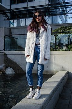 Get this look: http://lb.nu/look/8646771  More looks by Maria P: http://lb.nu/shortgirllongjacket  Items in this look:  Aliexpress White Teddy Coat, Aliexpress White Lace Top, Topshop Boyfriend Jeans, Converse White High Tops   #casual #edgy #street #fashionblogger #styleblogger #petiteblogger #teddycoat #fauxfurcoat #fauxfur