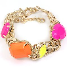 Gold Open Link Neon Yellow Orange Fushia Chain Bracelet/ $12.99